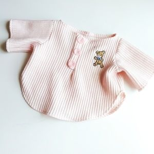 Vintage Pink Teddy Bear Waffle Top Size 0-3 M